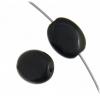 Glass Bead Flat Oval 12x9mm Strung Black
